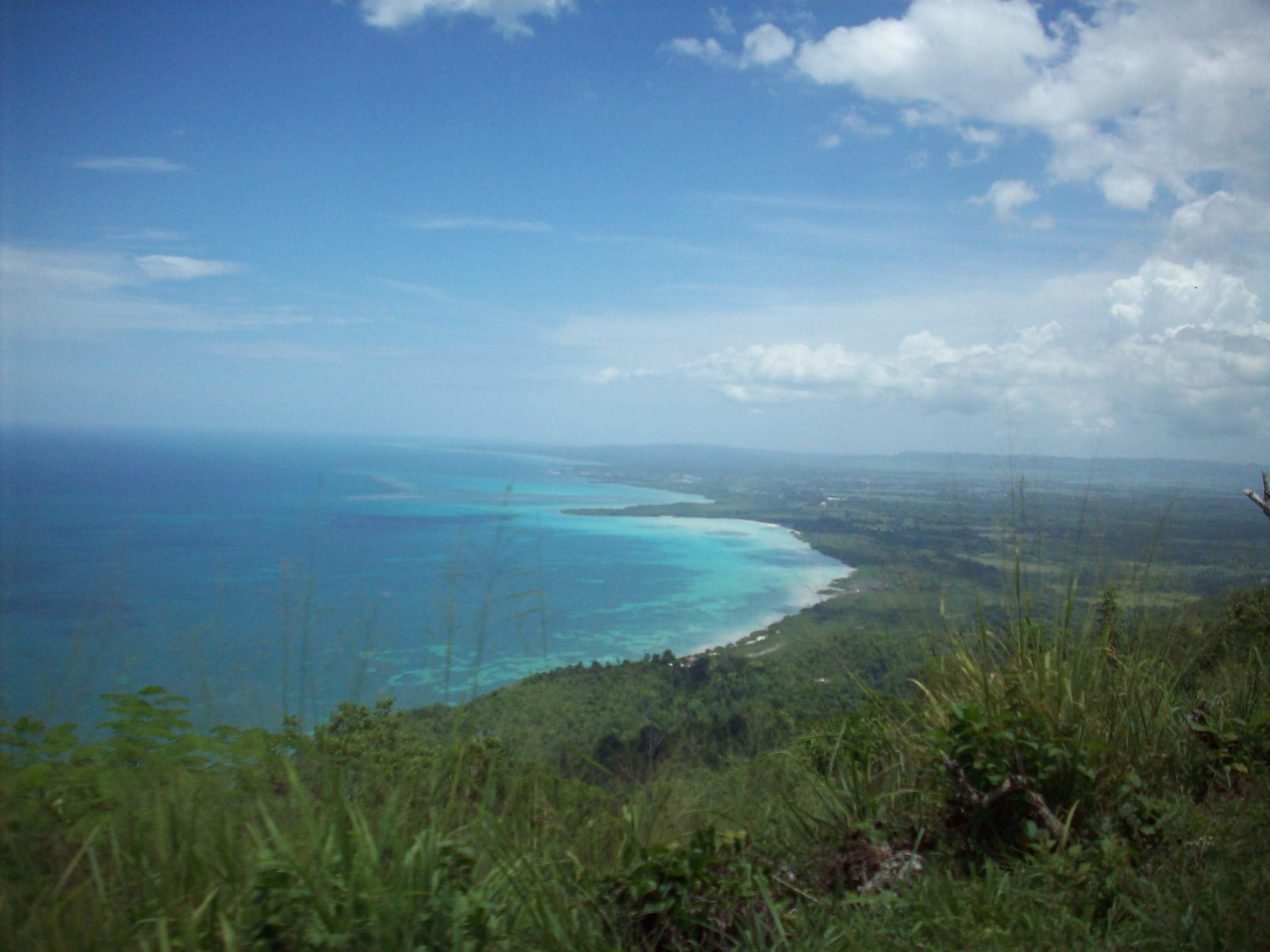 A beautiful panoramic mountain view of where the ocean meets the green shore.